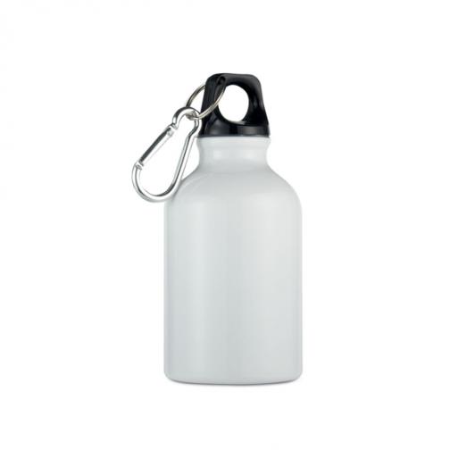 Алуминиева малка бутилка с карабинер-300 мл. -бял цвят