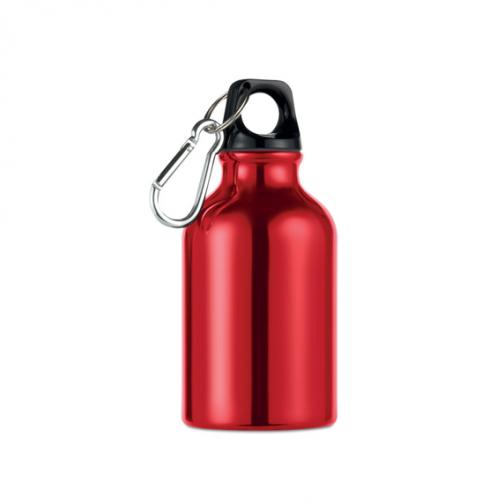 Алуминиева малка бутилка с карабинер-300 мл. -червен цвят