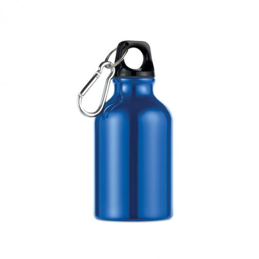 Алуминиева бутилка с карабинер-300 мл. -син цвят