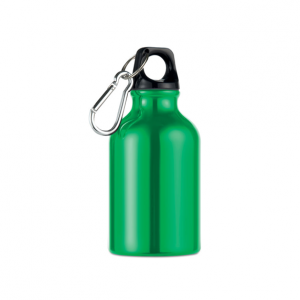 Алуминиева малка бутилка с карабинер-300 мл. -зелен цвят