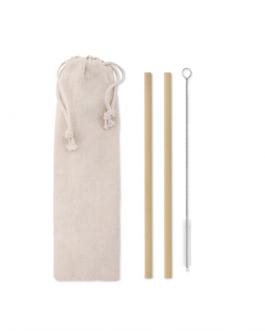 Комплект бамбукови сламки