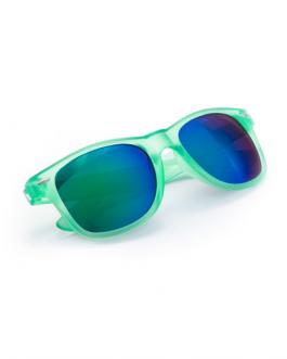 Слънчеви очила с трансперентна светло зелена рамка и металик стъкла