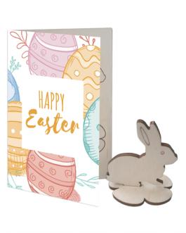 Великденска картичка по индивидуален дизайн с дървена фигурка