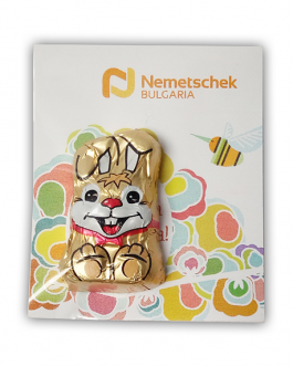 Великденска картичка със зайче от шоколад