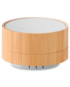 безжична колонка от бамбук - бял цвят