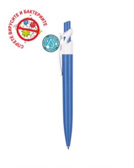 Рекламна антибактериална химикалка МАКС - син/бял цвя