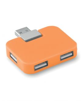 Рекламен USB хъб с 4 порта-оранжев цвят цвят