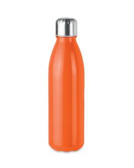 Цветно стъклено шише с метална капачка и дъно-оранжев цвят