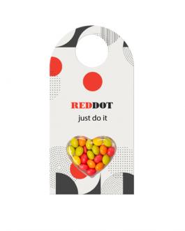 Картичката с рекламни бонбонки за врата-сърце