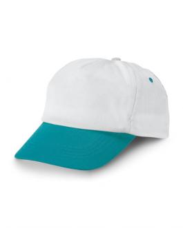 Лятна двуцветна рекламна шапка-бял/светло синцвят