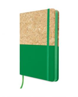 Бележник А5 с корк и PU - зелен цвят