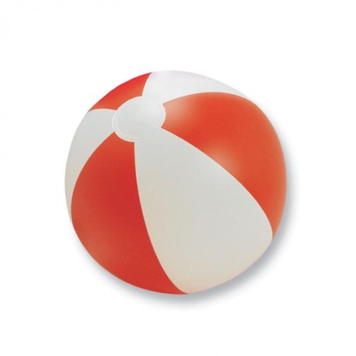 Надуваема двуцветна плажна топка-бял/червен цвят