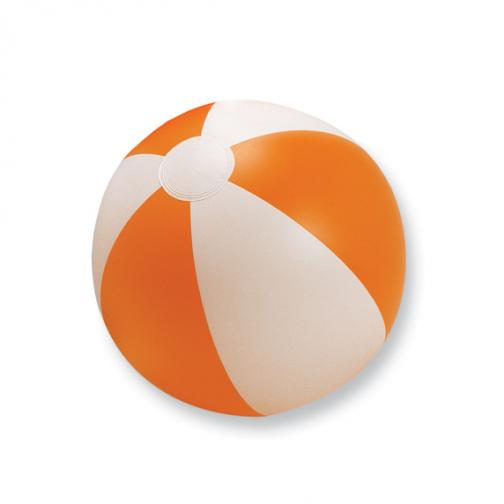 Надуваема двуцветна плажна топка-бял/оранжев цвят