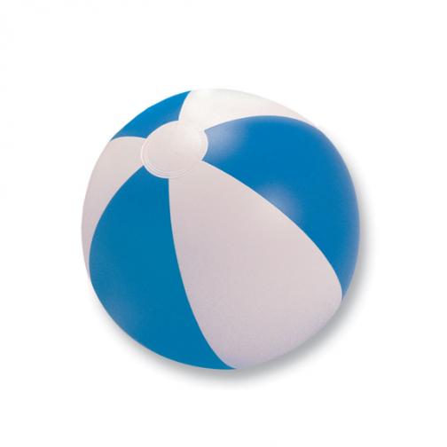 Надуваема двуцветна плажна топка-бял/син цвят