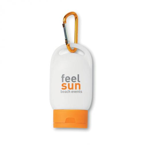 Рекламен слънцезащитен крем с карабинер с лого