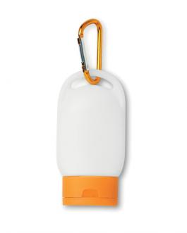 Рекламен слънцезащитен крем с карабинер оранжев цвят