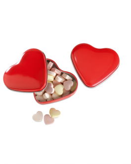 Метална кутия с бонбони Сърце-червен цвят
