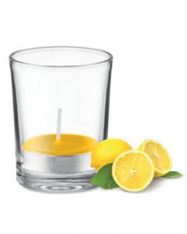Стъклена чаша със свещ-жълт цвят и аромат на лимон