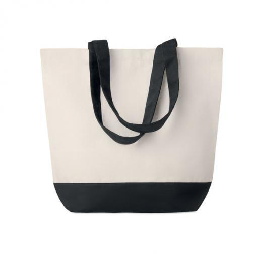 Рекламна плажна-пазарска чанта-черни дръжки