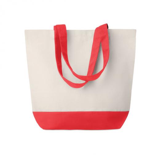 Рекламна плажна-пазарска чанта-червени дръжки