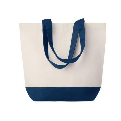 Рекламна плажна-пазарска чанта-сини дръжки