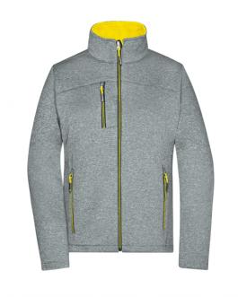 Дамско яке софтшел меланж - сив/жълт цвят