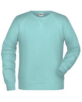 Мъжка блуза с дълъг ръкав от органичен памук-цвят ледено син меланж
