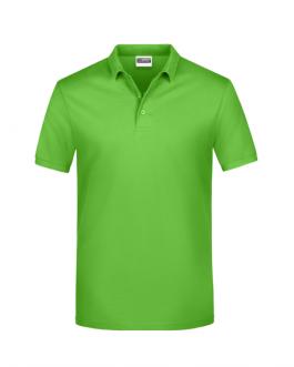 Класическа мъжка рекламна блуза с якичка светло зелен цвят